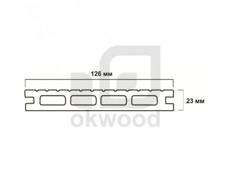 Композитная террасная доска Okwood (Венргия), арт. № TD126-23MKD-O